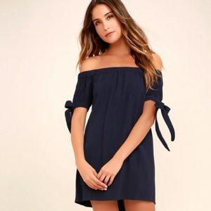 Lulus Dress Off The Shoulder Black M Shoulder Tie